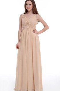 Floor-length V-neck Empire Chiffon Dress With Ruffles
