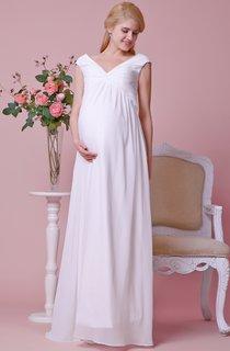 Gorgeous Cap-sleeved Allover Chiffon Sheath Maternity Wedding Dress With V Neck