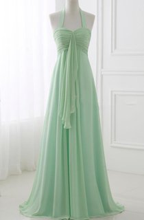 Halter Chiffon Dress With Pleats