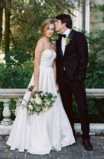 A-Line Sweetheart Floor-Length Lace Satin Dress