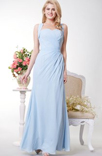 Wonderful Side Draped Sheath Chiffon Gown With Crisscross Back