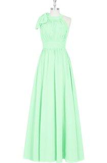 A-Line Sleeveless Pleated Chiffon Dress With Jewel Neck