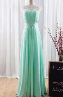 A-line Chiffon&Lace Dress With Beading&Corset Back