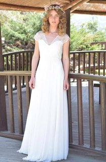 Plunged Lace Cap-Sleeve Chiffon Lace Appliqued Wedding Dress With Ribbon