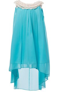 Sleeveless A-line High-low Chiffon Dress With Pleats