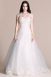 Sweetheart Beaded Lace Halter Ball Gown