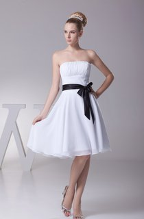 Knee-Length Ruched Strapless A-Line Gown with Bowed Sash and Zipper Back