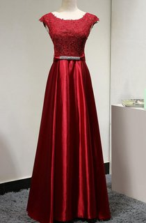 Cap Sleeve Lace Top Satin Dress With Beaded Belt