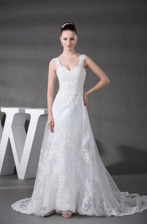 Plunged Ruched A-Line Dress With Tulle Overlay and Appliques