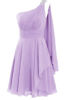 One-shoulder Beaded Pleated Chiffon Short Dress With Cape