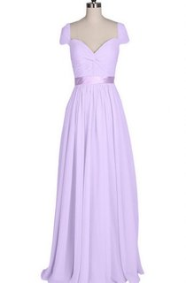 Short-sleeved Long Chiffon Dress With Pleats and Sash