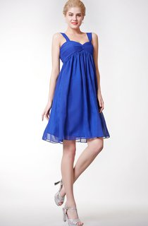 Empire Knee Length Chiffon A-line Dress With Squared Back