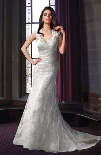 Sheath Lace Wedding Dress With Queen Anne Neck