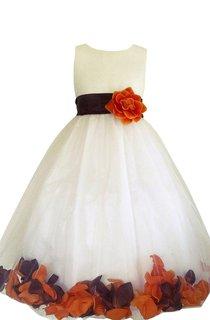 Sleeveless Bateau-neck A-line Dress With Petals