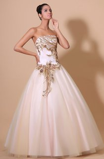 A-Line Strapless Ball Gown With Soft Tulle And Golden Embroideries