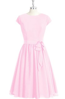 Short Sleeve Chiffon A-Line Dress With Bateau Neckline and Bow Sash