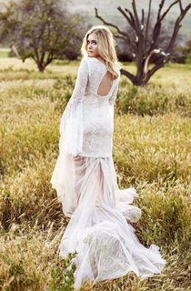Vintage Puff-Sleeve Lace Tulle Dress With Sweep Train