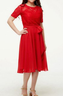 Romantic Red Bridesmaid Chiffon Lace Cocktail Flared Short Sleeve Dress