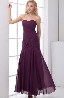 sweetheart pleated ankle-length chiffon dress with ruched bodice