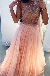 Glamrous High Neck Beadings Prom Dress 2016 Two Pieces Style
