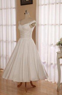 V-Neck Sleeveless Button Back Tea-Length Satin Wedding Dress