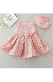 Boho Latest Sleeveless Lace Set of One Year Old Baby Girl Baptism Dress With Beaded Waist