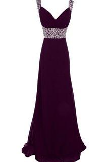 Sleeveless V-neck Empire Long Chiffon Gown