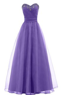 Sweetheart A-line Long Gown With Leaf Beadings