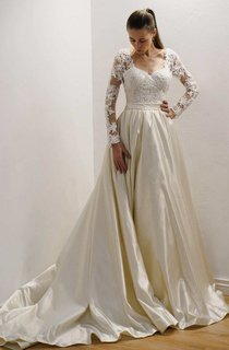 Lace  Appliques A-Line Satin Wedding Dress With Illusion And Court Train