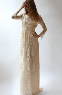 Long Sleeve 2 Piece Peach Lace And Silk Wedding Dress