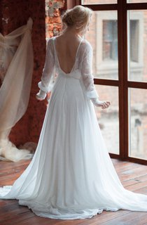 Plunged Lace Illusion Long Puff Sleeve Chiffon Wedding Dress With Sweep Train