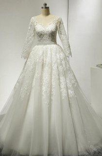 Bateau Neck 3 4 Sleeve A-Line Lace Wedding Dress With Court Train