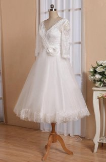 V-Neck Half Sleeve Button Back Tulle Wedding Dress With Sash And Flower