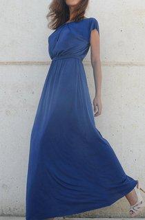Fall Blue Bridesmaid Symmetrical Folds On Neckline Floor Length Bridesmaid Dress