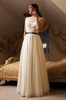 Jewel Neck Sleeveless Backless Wedding Dress With Chiffon Skirt