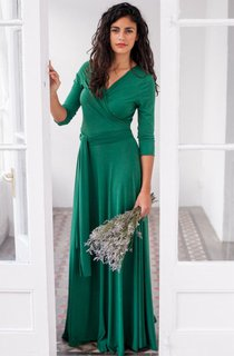 Long Green Wrap Dress