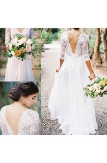 3 4 Sleeve A-line Long Chiffon Dress With Low-v Back and Lace Bodice
