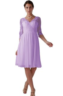 Knee-length Scalloped A-line Dress With Lace Appliques