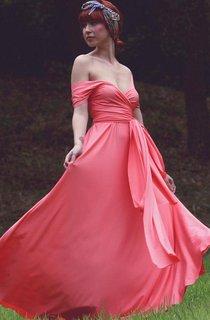 Off-The-Shoulder Chiffon Long Dress