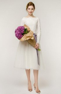 Long Sleeve Natural Tulle Lace Wedding Dress