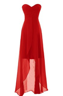 Sweetheart High-low Dress Wtih Chiffon Overlay