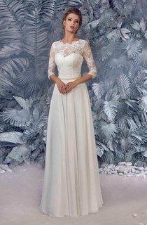 Chiffon Satin Beaded Lace Wedding Dress