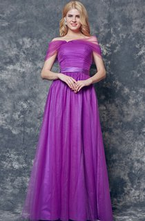 Elegant Off-the-shoulder Pleated Long A-line Tulle Dress
