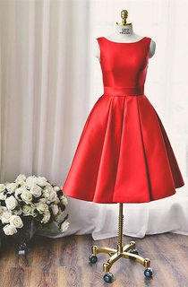 High Quality Bateau Red Short Homecoming Dress Bowknot