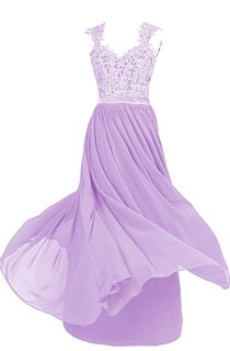 Exquisite Lace Appliqued A-line Gown With Satin Band