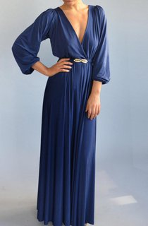 Fall Blue Evening Floor Length Bell Shape Golden Feather Belt Full Circle Skirt Dress