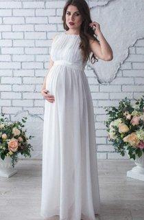 Sleeveless Sleeve Chiffon Maternity Wedding Dress With Pleats