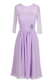 3 4-length Sleeve Rhinestoned A-line Gown With Lace Appliques