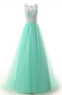 Jewel Pleated Tulle A-line Gown With Lace Appliques