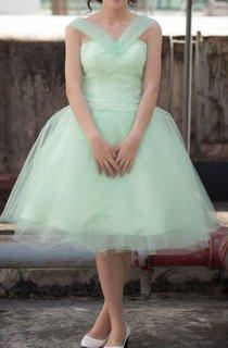 Tea-length Tulle Dress With Bow